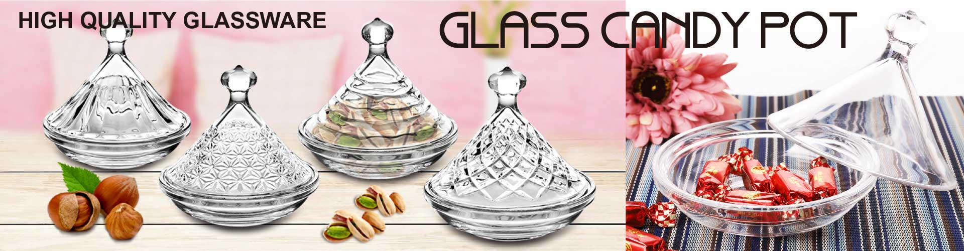 china glass candy jars new design