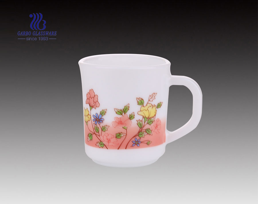 240ML Opal White Glass Mug With Custom Decal