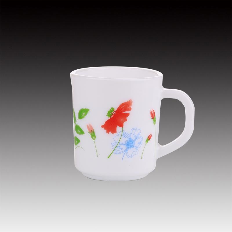 240ML Opal weiße Glasbecher mit benutzerdefiniertem Aufkleber
