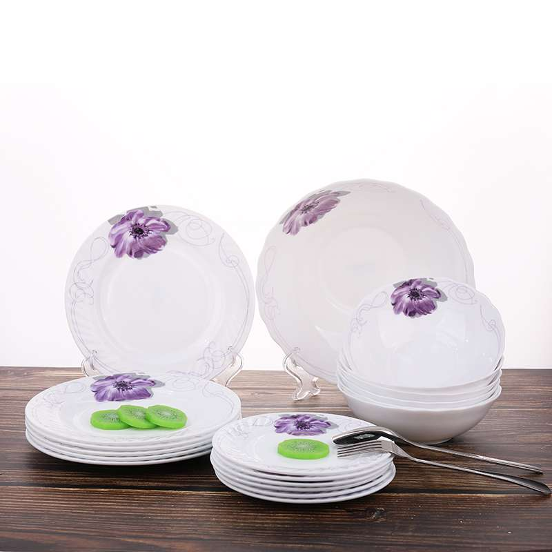 Calcomanía Decoración Square Opal Glass Dinner 14 Pcs Set
