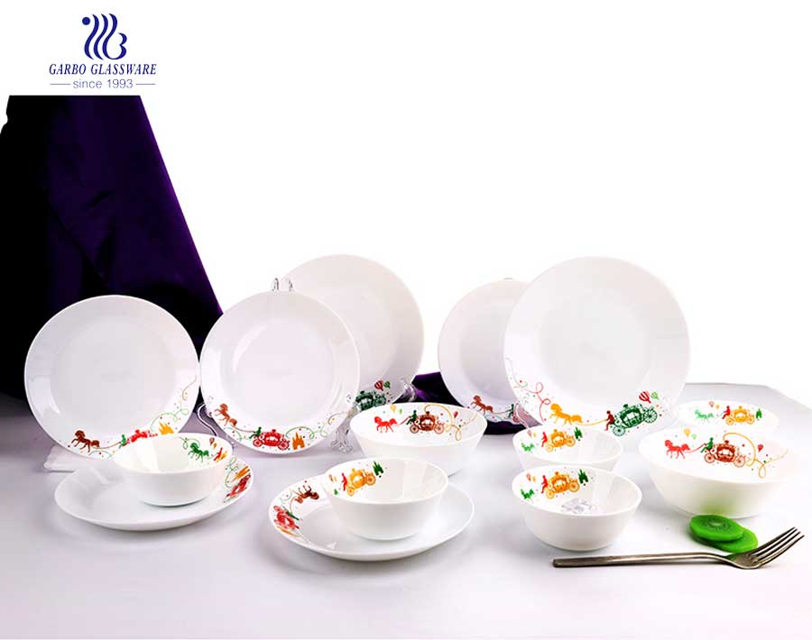 Decal Decoration Square Opal Glass Dinner 14 Pcs Set