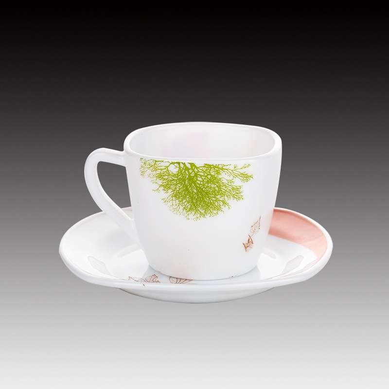 Microwave Safe Milk White Opal Glass Coffee Mug With Saucer