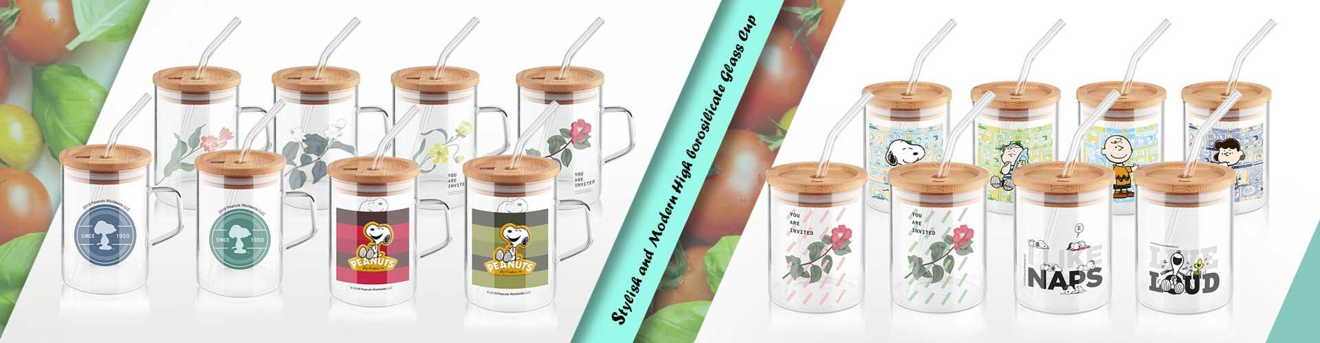 borosilicate glassware with straw
