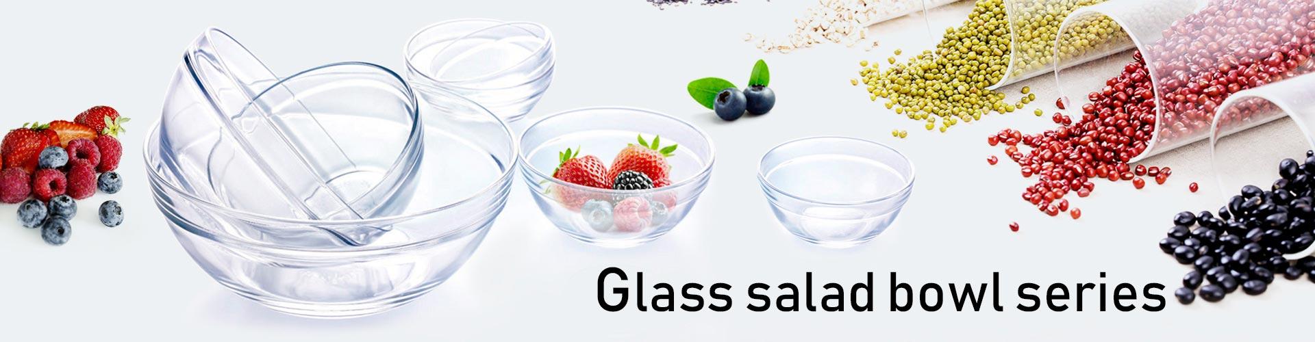 serie de ensaladeras de vidrio