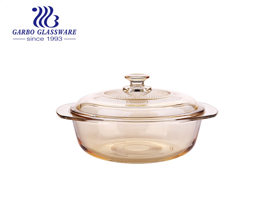 Wholesale Tempered Glass Casserole Dish Ion-electroplated Baking Glass Bowls With Lid
