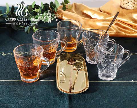Cốc trà thủy tinh trong suốt có cổ 8oz với thiết kế hoa hồng Cốc thủy tinh cổ điển có tay cầm cốc thủy tinh kiểu Trung Đông