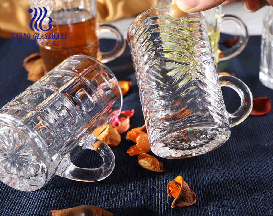 4oz little glass tea mugs with pattern designs Turkish style clear glass cups with handle