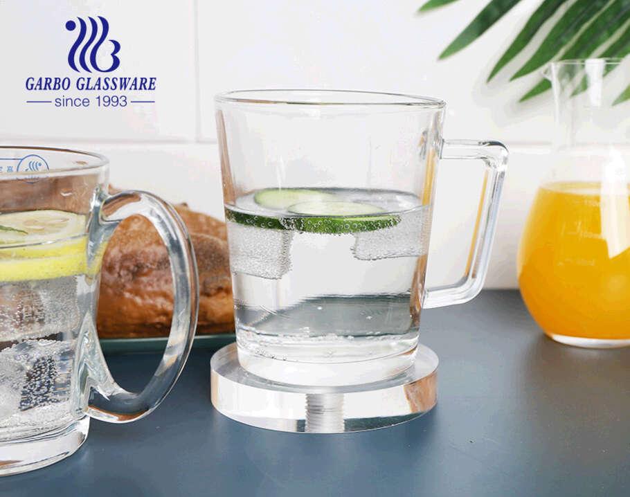 أكواب زجاجية شفافة 12 أونصة مع مقابض خاصة على شكل قلب أكواب زجاجية لشاي القهوة