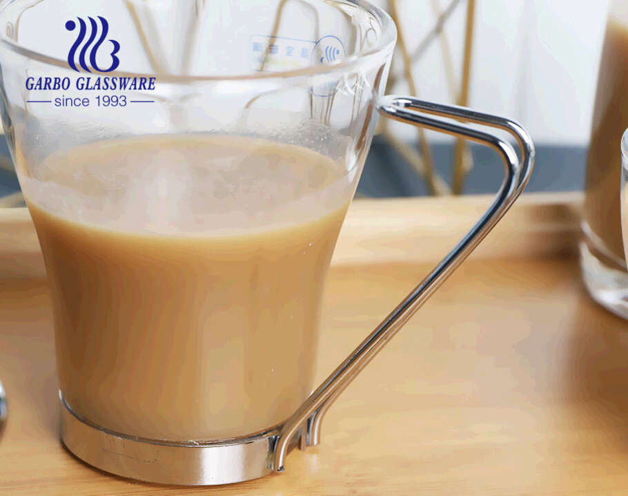 European style traditional hot selling glass coffee cups with metal handles for espresso tea