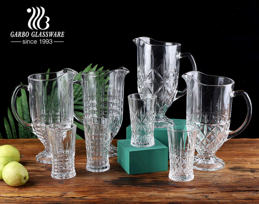 Stocked brand vintage middle east style mix mold 7pcs high-white crystal glass water drinking jug set with engraved design