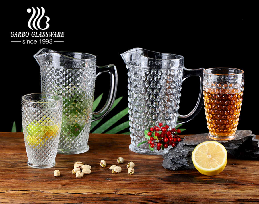 Wholesale factory 7 pcs high white embossed glass water drinking jug set with engraved dot pattern