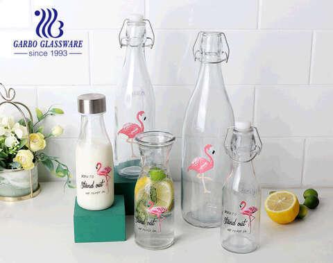 Flamenco decal for glass bottle 550ml 1000ml with lock lid  decorative glass bottle juice beer milk storage bottle