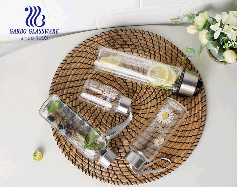 زجاجة تخزين زجاجية مقاومة للحرارة 280 مللي خالية من BPA خالية من التسرب الزجاجي زجاجة البورسليكات عصير زجاجة تخزين الحليب