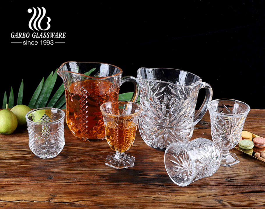 High-white glass beverage drinking wide mouth pitcher set with drinking goblet engraved design for daily use