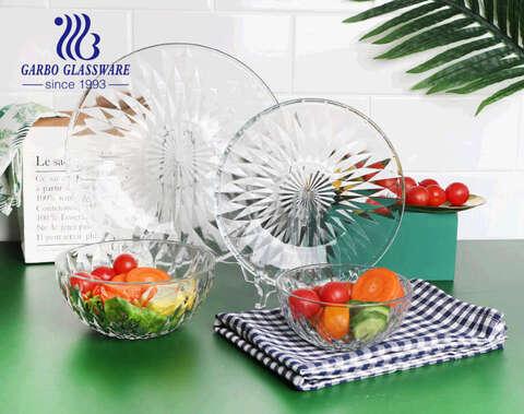 الجملة استخدام المنزل عالية الفاكهة سلطة الفاكهة وعاء زجاجي هدية مع تصميم الماس الكلاسيكي
