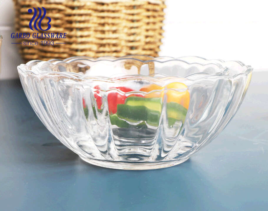 1000 مللي بالجملة صحن فواكه سلطة زجاجية شفافة ذات سعة كبيرة مع تصميم مخصص على شكل زهرة اللوتس للمصنع