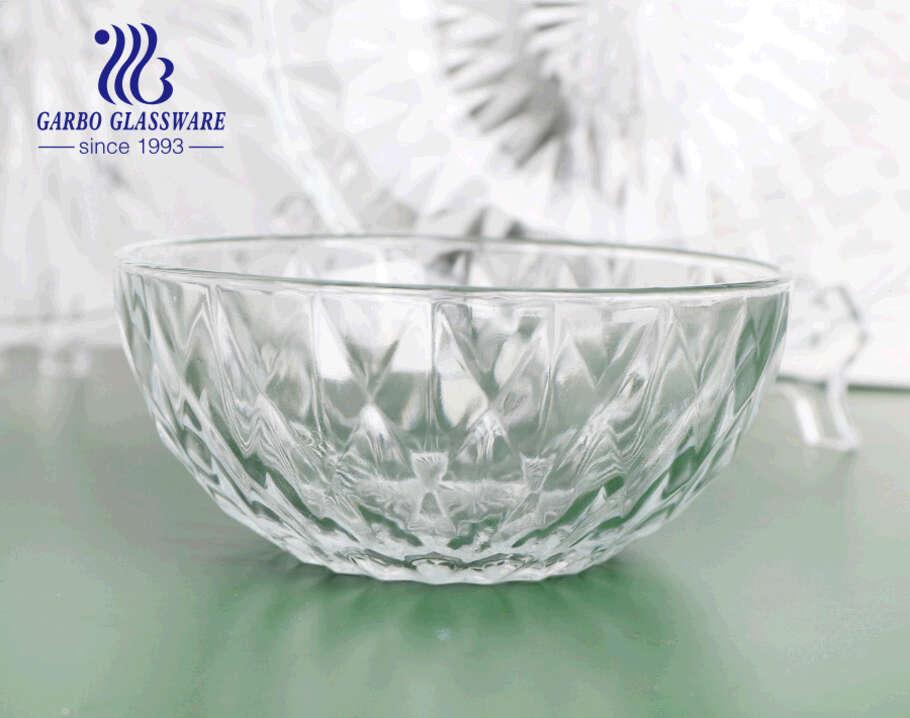 400 مللي بالجملة تصميم الماس الكلاسيكي الزجاج سلطة الفاكهة وعاء خلط الزجاج وعاء الحلوى للاستخدام اليومي للمطبخ