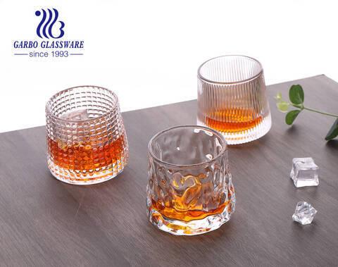 Cốc thủy tinh khắc rượu whisky phong cách Bắc Âu có đế xoay xoay