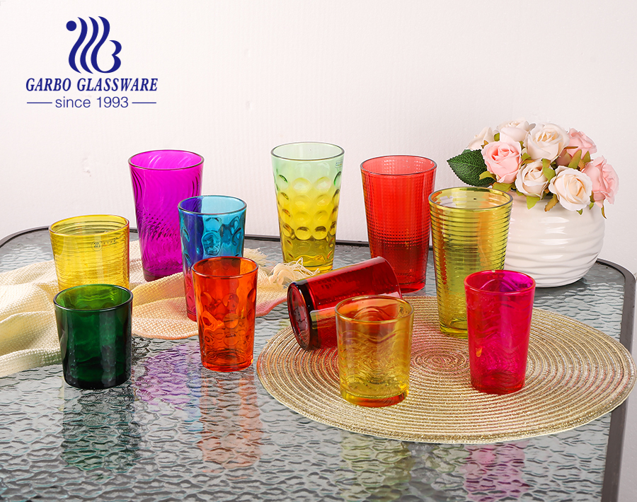 Classic cheap price 14oz glass tumbler with custom sprayed colors