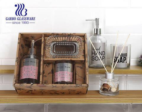Nhà máy sản xuất hộp quà tặng bằng máy giá rẻ bộ phụ kiện phòng tắm kính với decal tùy chỉnh cho nhà bếp phòng tắm khách sạn gia đình