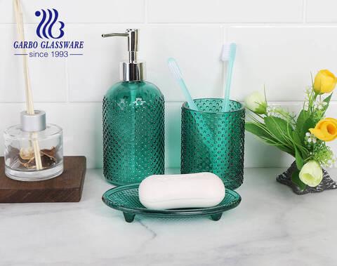 Hộp quà bằng máy 3 cái phụ kiện phòng tắm kính có phun màu xanh lá cây cổ điển cho khách sạn