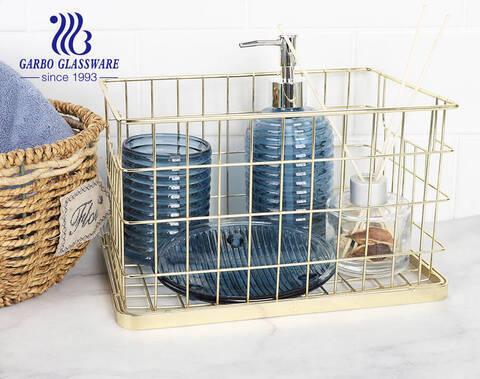 Nhà cung cấp khách sạn phụ kiện phòng tắm kính màu xanh hoàng gia máy rút chén đĩa xà phòng với thiết kế tùy chỉnh