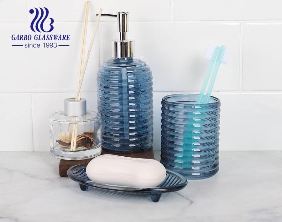 مورد الفندق ملحقات الحمام الزجاجي الأزرق الملكي موزع صحن كوب الصابون مع تصميم حسب الطلب