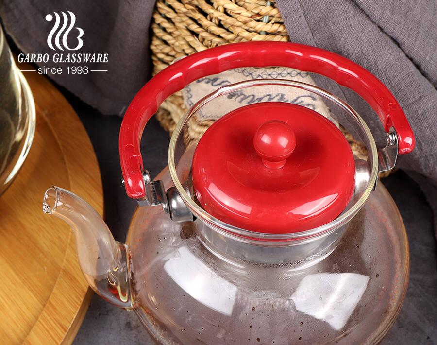 إبريق شاي زجاجي مع مصفاة قابلة للإزالة للشاي الساخن / المثلج ، مجموعة صنع الشاي بأوراق متفتحة وفضفاضة مع مقبض مطوي