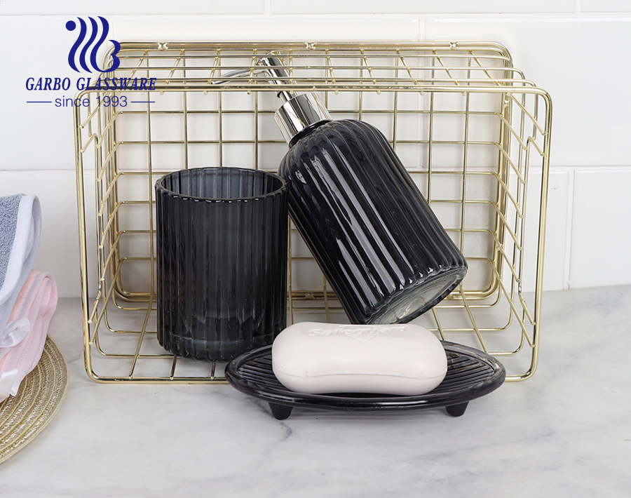 Factory high-end spraying colored black glass bathroom accessories set hotel glass bottle dish cup for shower