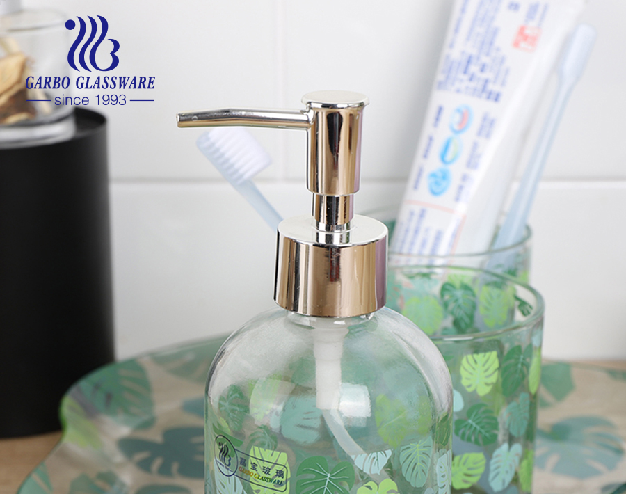 5 قطع فندق تصميم مخصص لصائق اكسسوارات الحمام مجموعة الزجاج الشامبو زجاجة طبق كوب للمطبخ