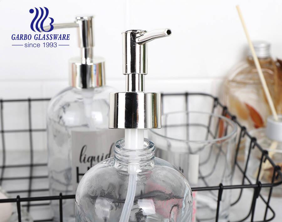 3 قطع مجموعة إكسسوارات الحمام مع كأس حامل فرشاة الأسنان الزجاجي ، موزع الصابون الزجاجي وصحن الصابون الزجاجي