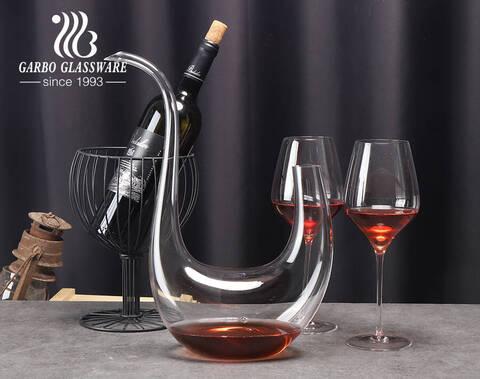 Logotipo personalizado premium único elegante cisne curvo forma de arpa cristal sin plomo cristal decantador de vino tinto