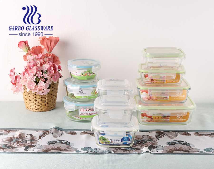 Set of 4pcs Square Glass Food Storage Containers with Lids