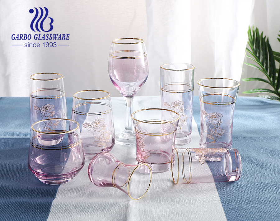 150ml small party decoration decals colored arabic glass cups for tea drinking