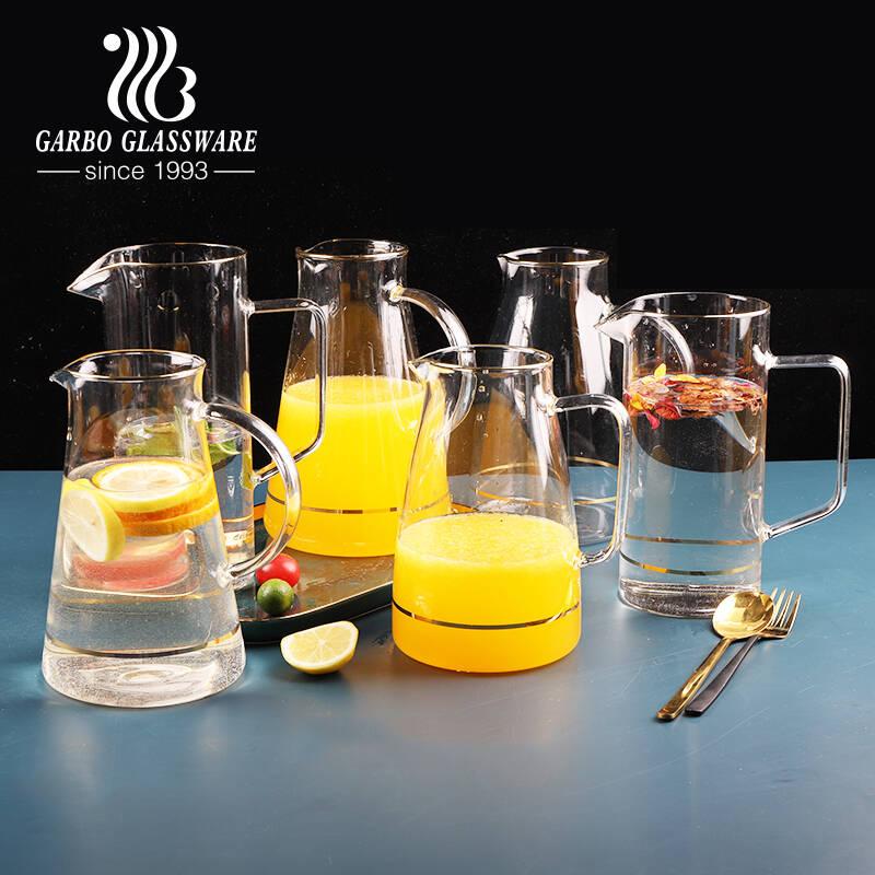 1.4 Liters Stove safe borosilicate glass pitcher with gold rim decor