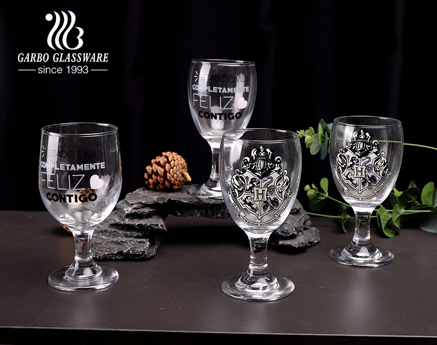 Amazon Hot Selling 340ml Glass Stemware with Decal Logo