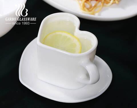 ハート型ティーカップ165mlホワイトオパールグラスコーヒーマグカップバレンタインデークリアティーカップバレンタインデー