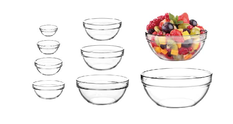 "STOCKED 5"" classic apple shape glass bowl"
