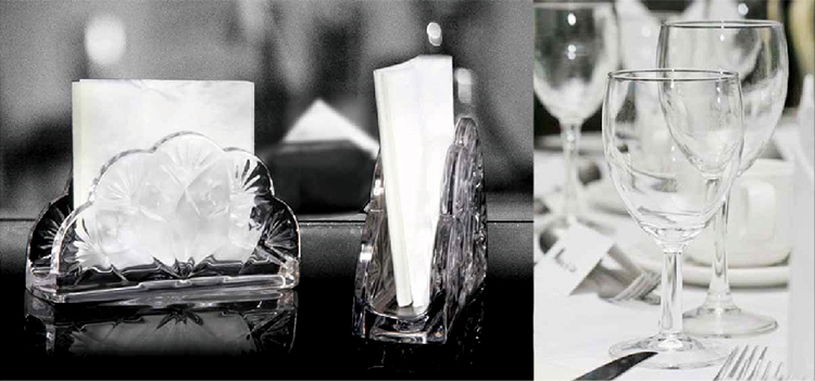 5inch simple design glass napkin holders for restaurant