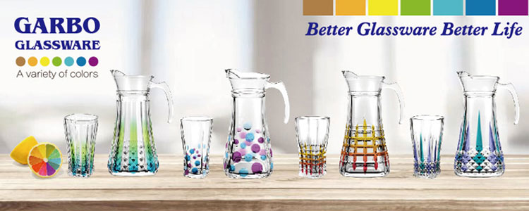Customized spray colored 7pcs glass water drinking set