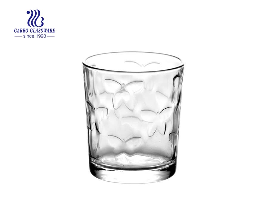 9oz butterfly design clear water drinking glass tumbler