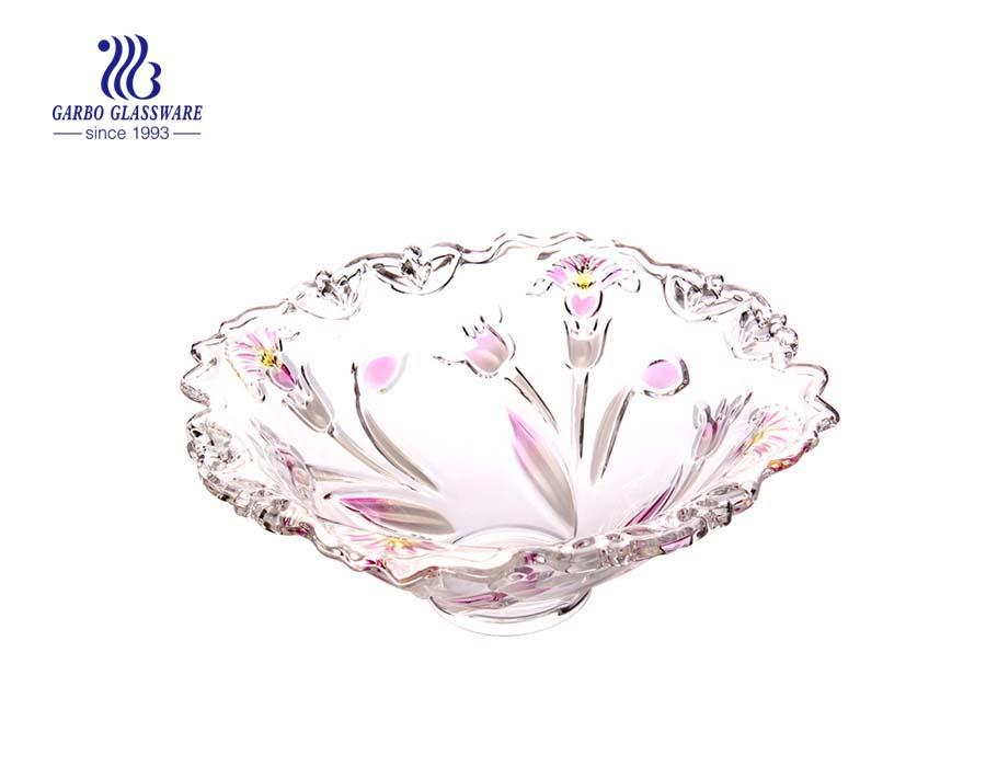 13'' Glass Fruit Bowl with Spray Petunia design for fruit