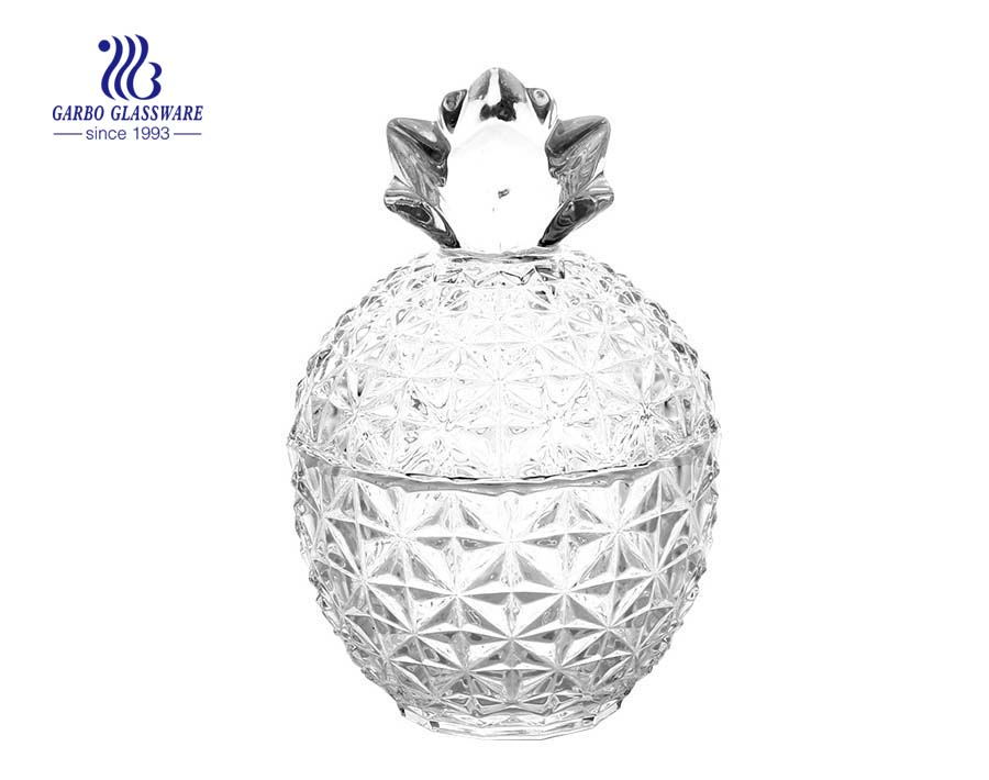 New Design Pineapple Shape Glass Candy Pot
