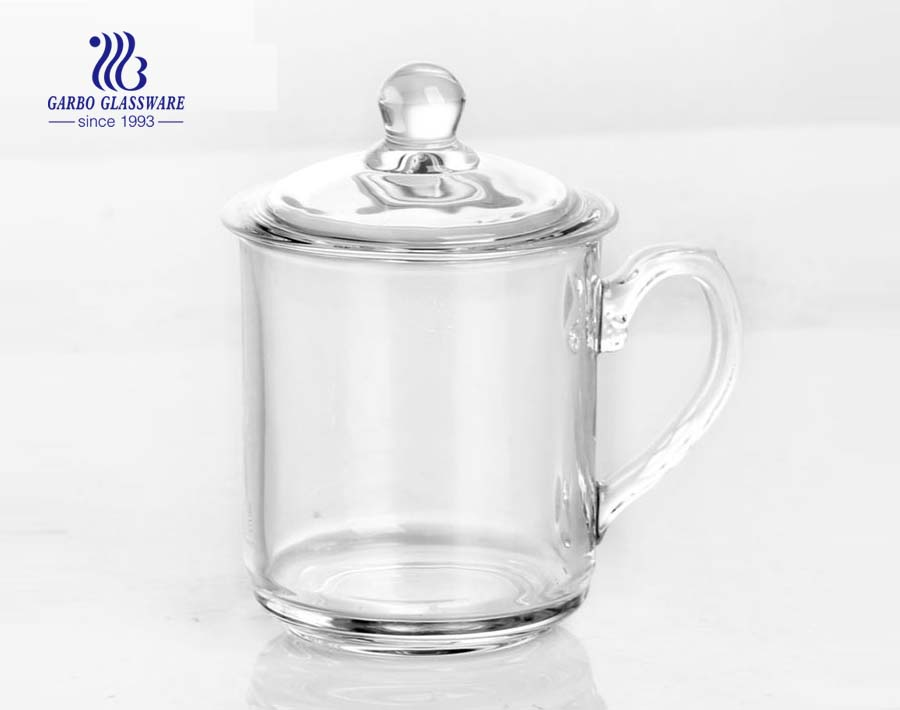 clear glass tea cup with lid for green tea
