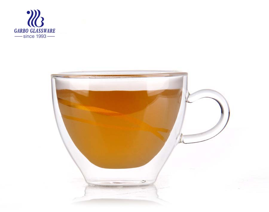 Customized 11oz Borosilicate double wall cup for tea drinking