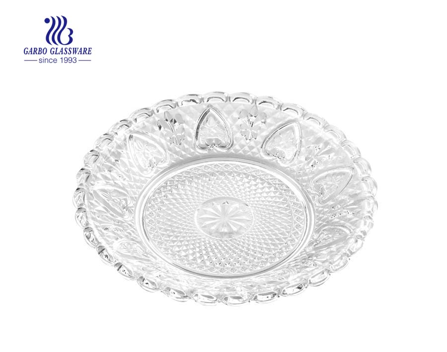 "STOCKED 8"" glass serving plate with beautiful designs"