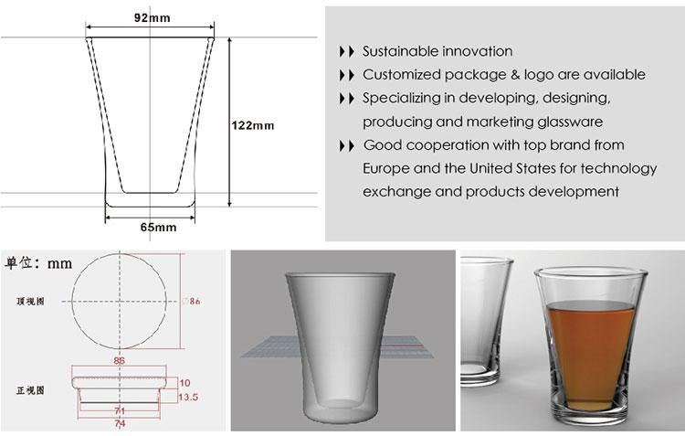 Pyrex Glas Teegeschirr 15oz individuelles Abziehbild Logo einwandige Tasse