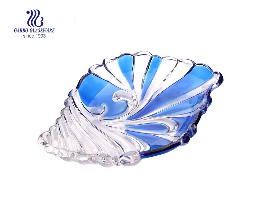 Glass fruit bowl with butterfly design