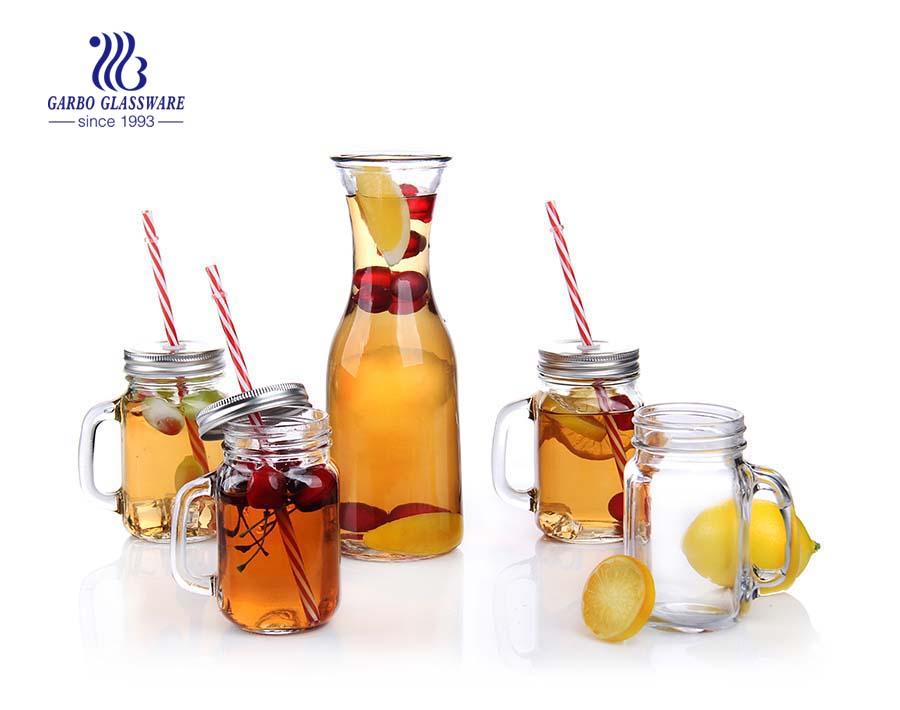 frasco de pedreiro de vidro redondo conjunto 5pcs conjunto 1L e 420ml