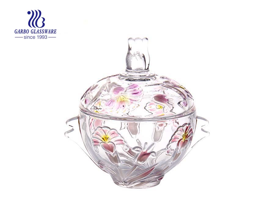 Colorful Flower Engraved Glass Candy Pot
